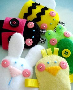 Spring Felt Finger Puppets Sewing Pattern - PDF ePATTERN for Chick, Bunny, Bumble Bee, Ladybug, Frog & Carrying Case. $3.99, via Etsy.