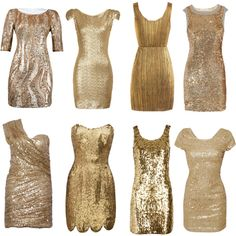 All that glitters is gold... Night time wedding bridesmaid dresses!! GLITTER & TEXTURE! Love the idea ofdifferent dresses and short dresses