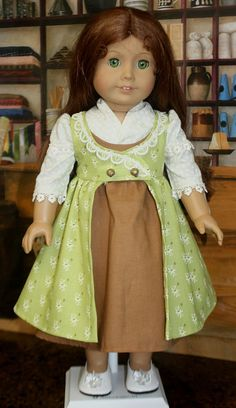 American Girl Style Regency Pinafore Dress in Apple Green and Brown