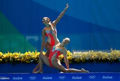 Photo d'actualité : Laura Auge and Margaux Chretien of France compete...