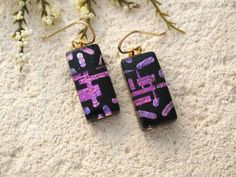 Pink & Black Dangle Earrings, Dichroic Glass Earrings, Fused Glass Jewelry, Glass Earrings, Dichroic Jewelry,Gold Filled  082715e102 by ccvalenzo on Etsy