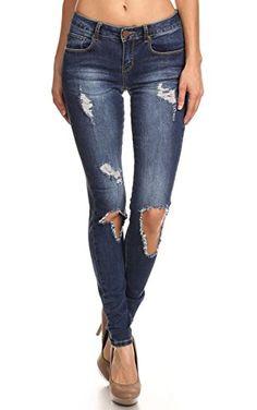 Vialumi Women Juniors Torn Distressed Ripped Destroyed Skinny Jeans Dark Wash 5 ❤ ...