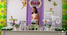 Inspiração para decoração de festa infantil como tema Tinkerbell, Sininho.