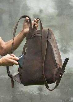 6dd4b2075a3a Leather brown backpack Man backpack Brown man rucksack | Etsy Mens Travel  Bag, Backpack Travel