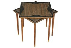 1960s Square Stacking Tables, Pair