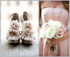 Bridesmaid idea: Pale pink dresses with champange shoes & a white and pale pink bouquet.