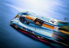 """lcferrera: """" """"Psicodelia"""" (Digital Paint) Porsche 917 (1971) Motor 12 Cilindros, 600 CV, Velocidad Máxima 360 Km/h. En Le Mans llegaron a 396 Km/h. en la recta de Mulsane. """""""