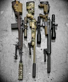 Via - The wrecking crew 😈 From right to left: The CrazyHorse Semiautomatic Sniper System with LR/T riflescope & HMMS cover. Military Weapons, Weapons Guns, Guns And Ammo, Sniper Gear, Tactical Gear, Armas Ninja, Hunting Rifles, Assault Rifle, Cool Guns
