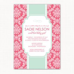 perfect for a baby girl shower . . . garden damask