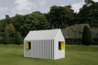 Mattias Lind, architect and partner at Scandinavian White arkitekter, has designed a house made entirely of paper – Chameleon Cabin – that changes appearance like. Green Architecture, Sustainable Architecture, Architecture Design, Temporary Architecture, Arched Cabin, Bothy, Small Buildings, Prefab Homes, Play Houses