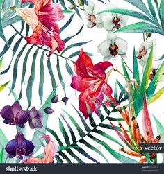 Watercolor, Tropical, Pattern, Wallpaper, Background, Birds Of Paradise, Orchids, Lilies, Palm Leaves, Flowers Stock Vector Illustration 271241810 : Shutterstock