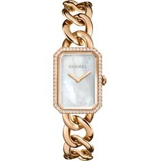 CHANEL PREMIÈRE 18K Beige Gold Chain Watch (181,780 CNY) ❤ liked on Polyvore featuring jewelry, watches, gold wristwatches, chains jewelry, water resistant watches, gold jewellery and gold watches