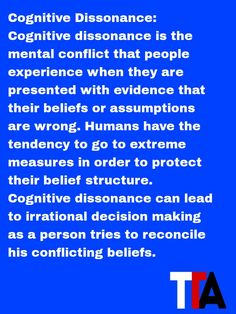 Daily Trading Psychology term - Cognitive Dissonance: Cognitive dissonance is the mental conflict that people experience when they are presented with evidence that their beliefs or assumptions are wrong. Humans have the tendency to go to extreme measures in order to protect their belief structure. Cognitive dissonance can lead to irrational decision making as a person tries to reconcile his conflicting beliefs