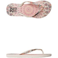 Billabong Dama Printed Flip Flop ($20) ❤ liked on Polyvore featuring shoes, sandals, flip flops, white, billabong, billabong flip flops, rubber sandals, white flip flops and billabong sandals