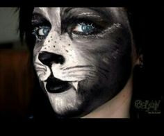 Werewolf makeup for Halloween - Halloween Costumes 2013 Black Cat Face Paint, Black Panther Face, Kitty Face Paint, Black Cat Makeup, Cat Face Makeup, Cat Halloween Makeup, Amazing Halloween Makeup, Halloween Halloween, Halloween Costumes