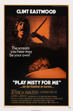 Play Misty For Me, director Clint Eastwood's classic suspense thriller starring Clint Eastwood, Jessica Walter, Donna Mills, John Larch and Don Siegel. Clint Eastwood, Eastwood Movies, Jessica Walter, Scary Movies, Old Movies, Vintage Movies, Horror Movies, Awesome Movies, Donna Mills