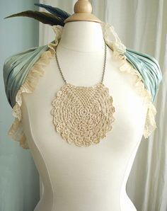 Boho Vintage Crochet Lace Bib Necklace with Antique Brass Chain