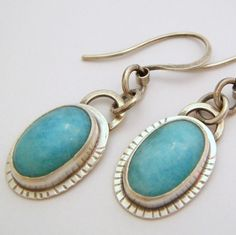 Amazonite Earrings set with Sterling Silver