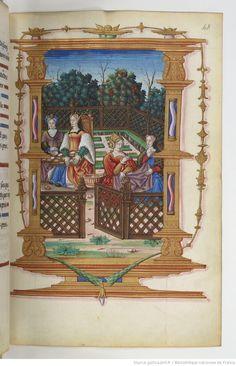 Women at the table are processing silkworm coccoons. Chants royaux sur la Conception, couronnés au puy de Rouen de 1519 à 1528.