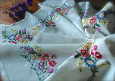 Check out this item in my Etsy shop https://www.etsy.com/uk/listing/474010125/hand-embroidered-floral-vintage-linen