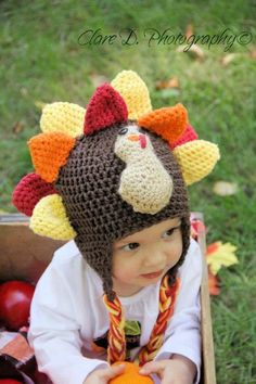 """""""Tony the Turkey"""" hat. Crochet pattern available in multiple sizes (newborn - large adult variations) for $4."""
