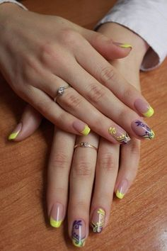 Beautiful nails 2016, Beautiful summer nails, Color french manicure, Ideas of summer french nails, Manicure by summer dress, Manicure by yellow dress, Nails with curls, Pattern nails
