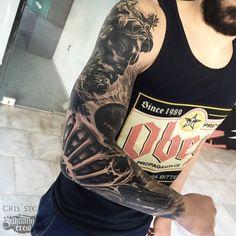 Realistic Sleeve Tattoo By Cris! #realism #realistic #black #grey #sleeve
