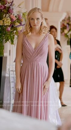 Caroline's pink high-low gown on The Vampire Diaries. Outfit Details: https://wornontv.net/64585/ #TheVampireDiaries