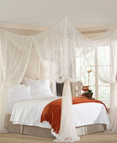 Looking at this picture made me realize: DIY Canopy. This is the link to where you can buy the featured canopy. BUT what if you buy tulle (super cheap) and attach it to the ceiling yourself?!? Tie it off appropriately and viola.