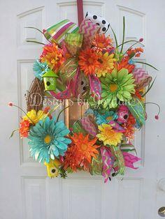 Spring+Garden+Spring+Wreath+Summer+Wreath+by+DesignsbyJordanTX,+$115.00