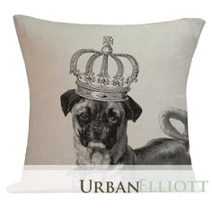 Hipster Pillow Cover Cotton Canvas Throw Pillow 18 inch square Royal Pug Dog with Crown