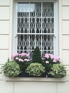 31 of the Best Window Boxes in London Photos | Architectural Digest [Symmetry reigns in a window box centered on a boxwood cone where pink geraniums alternate with mounds of variegated ivy.]