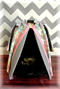 carseat canopy car seat cover Paisley grey pink by JaydenandOlivia, $37.99