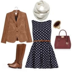 Navy Polka Dot Dress with Tan Accessories