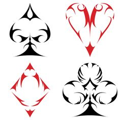 After being inspired to design a Spade, I wasn& satisfied. Thus began my small project to create a tribal-type set of Card Suits. Maybe one day I can get these printed on to a deck. Skull Tattoos, Body Art Tattoos, Tribal Tattoos, Sleeve Tattoos, Tatoos, Ace Of Spades Tattoo, Playing Card Tattoos, Playing Cards, Tattoo Drawings