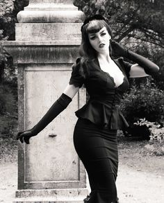 Laura Byrnes Twill High Waisted Skirt with Fishtail Hem Byrnes Pinup Girl Clothing Laura Byrnes California Lilith Top in Black  Goth Vampire