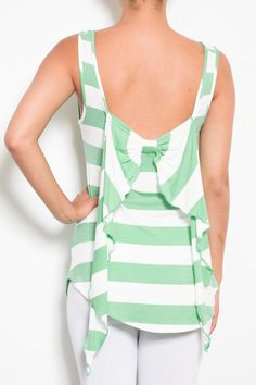 MINT STRIPE RIBBON & Bow Back Top Shirt Romantic Tank