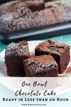 This one bowl chocolate cake is the easiest and quickest chocolate cake ever. Mix everything in one bowl, pour in a baking pan and bake. Plus the crumb is so tender and soft, that it doesn't even need a frosting. Cut into slices and serve on its own, or if you are feeling decadent with a dollop of cream or ice cream. Eid Recipes, Baking Recipes, Snack Recipes, Round Cake Pans, Round Cakes, Quick Chocolate Cake, Eid Food, Savoury Baking, Baking Pan