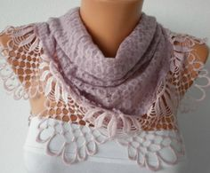 Lilac Scarf    Headband Necklace Cowl with Lace Edge by fatwoman, $21.00
