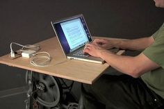 Big Rig is a stationary bike desk charger, engineered so that you can exercise while you work and charge your laptop by exercising.