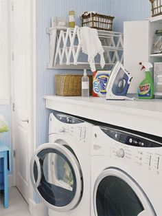 To maximize space in a small laundry room, put a front-loading washer and dryer beneath a counter so you have work space, and utilize flexible space savers like a folding drying rack.