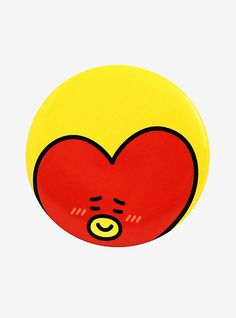 Tata is here to make some friends with the other pins and buttons your bag or jacket! This big button from features the super curious alien a yellow background. Bts Emoji, Button Image, Pizza Cat, Ghost Cat, Diy Pins, Yellow Background, Rock Art, Hot Topic, Painted Rocks