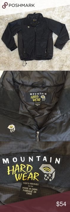 Mountain Hardware Black shiny Jacket Sz M Great jacket and great reliable brand! This is the type of material that is the waterproof and poofy so you know its warm and rainproof! Thanks for looking Mountain Hard Wear Jackets & Coats Performance Jackets