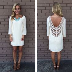 White Patchwork Lace Hollow-out Backless Loose Dress