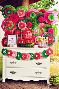 Watermelon party: backdrop is store-bought tissue paper fans in different sizes, layered with DIY paper medallions by nancy First Birthday Party Themes, Girl First Birthday, Birthday Ideas, Birthday Diy, Party Kulissen, Party Time, Party Ideas, Watermelon Birthday Parties, Watermelon Party Decorations