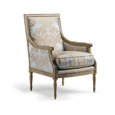 Lustrous silk yarns, exceptional handcarving and a multi-step crackle finish elevate the Firenze Arm Chair to the heights of an 18th century    heirloom. With a masterfully crafted, kiln-dried hardwood frame and premium feather/down-blend wrapped foam cushion, its construction is peerless. A damask    pattern in champagne and blue gains an elegant accent from antiqued-silver nailheads applied to decorative gimp trim.            Coordinates with the 19 Italiana Decorative Pillow          ...