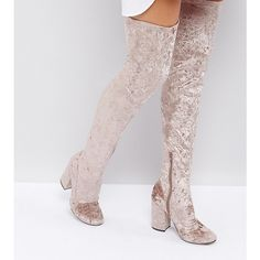 d229618306f ASOS KATCHER Heeled Over The Knee Boots (300 RON) ❤ liked on Polyvore  featuring