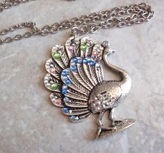 Peacock Necklace Large Silver Tone Rhinestones Textured Cable Chain Vintage V0223 by cutterstone on Etsy