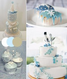 ice blue winter wedding cakes with silver and white color