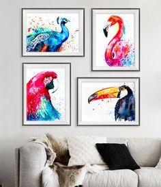 Peacock, Flamingo, Parrot, Toucan watercolor painting print, Peacock print, Flamingo art, Parrot painting, Toucan art, bird set by SlaviART on Etsy https://www.etsy.com/listing/243811126/peacock-flamingo-parrot-toucan